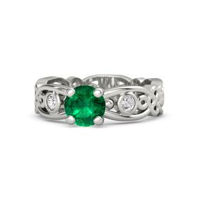 Round Emerald 14K White Gold Ring with White Sapphire