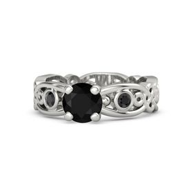 Round Black Onyx 14K White Gold Ring with Black Diamond