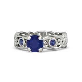 Round Sapphire 14K White Gold Ring with Sapphire