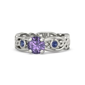 Round Iolite 14K White Gold Ring with Blue Sapphire