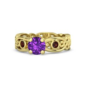 Round Amethyst 14K Yellow Gold Ring with Red Garnet