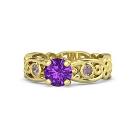 Round Amethyst 14K Yellow Gold Ring with Rhodolite Garnet