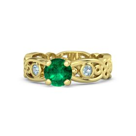 Round Emerald 14K Yellow Gold Ring with Aquamarine