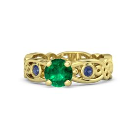 Round Emerald 14K Yellow Gold Ring with Blue Sapphire