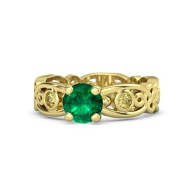 Round Emerald 14K Yellow Gold Ring with Yellow Sapphire