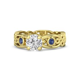 Round White Sapphire 14K Yellow Gold Ring with Sapphire