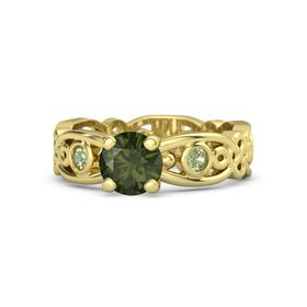 Round Green Tourmaline 14K Yellow Gold Ring with Peridot
