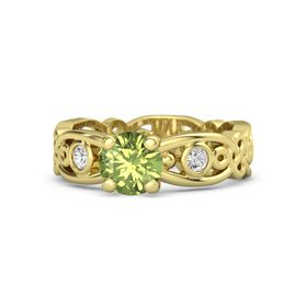 Round Peridot 14K Yellow Gold Ring with White Sapphire