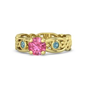 Round Pink Tourmaline 14K Yellow Gold Ring with London Blue Topaz
