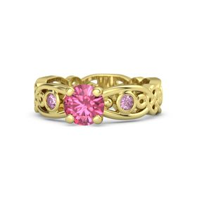 Round Pink Tourmaline 14K Yellow Gold Ring with Pink Sapphire