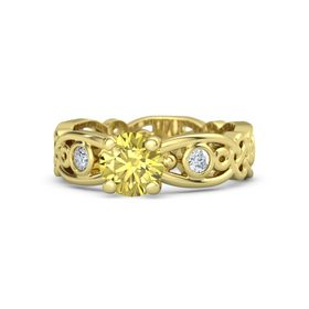Round Yellow Sapphire 14K Yellow Gold Ring with Diamond