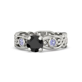 Round Black Diamond 18K White Gold Ring with Tanzanite
