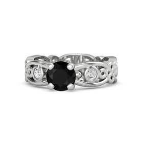 Round Black Onyx 18K White Gold Ring with White Sapphire