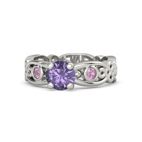 Round Iolite 18K White Gold Ring with Pink Tourmaline