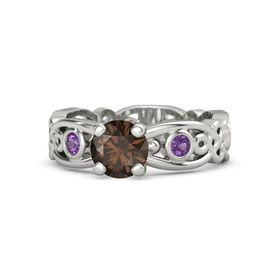 Round Smoky Quartz 18K White Gold Ring with Amethyst