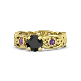 Round Black Diamond 18K Yellow Gold Ring with Amethyst