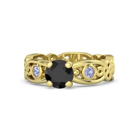 Round Black Diamond 18K Yellow Gold Ring with Tanzanite