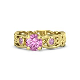 Round Pink Sapphire 18K Yellow Gold Ring with Pink Tourmaline