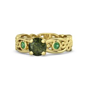 Round Green Tourmaline 18K Yellow Gold Ring with Emerald