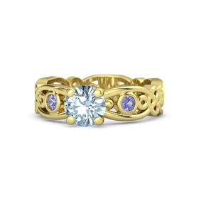 Round Aquamarine 18K Yellow Gold Ring with Iolite