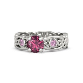 Round Rhodolite Garnet Platinum Ring with Pink Tourmaline