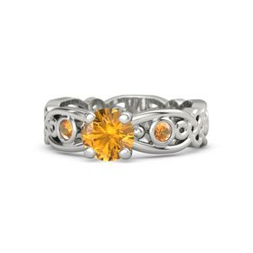 Round Citrine Platinum Ring with Citrine