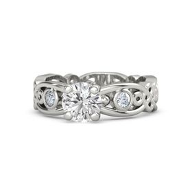 Round White Sapphire Platinum Ring with Diamond