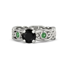 Round Black Onyx Platinum Ring with Emerald