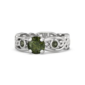 Round Green Tourmaline Sterling Silver Ring with Green Tourmaline