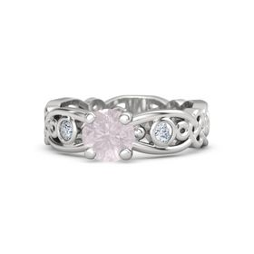 Round Rose Quartz Sterling Silver Ring with Diamond