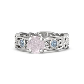 Round Rose Quartz Sterling Silver Ring with Blue Topaz