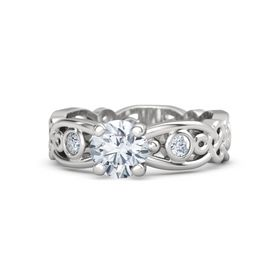 Round Moissanite Sterling Silver Ring with Diamond