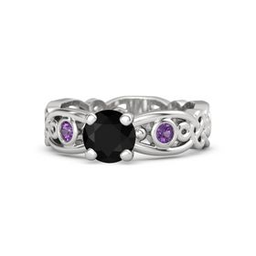 Round Black Onyx Sterling Silver Ring with Amethyst