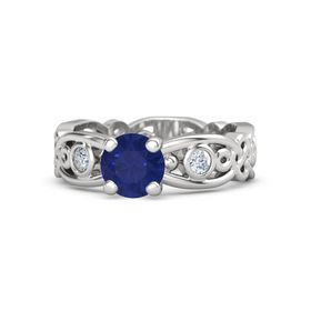 Round Sapphire Sterling Silver Ring with Diamond