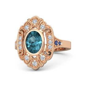 Oval London Blue Topaz 14K Rose Gold Ring with Diamond and Blue Sapphire