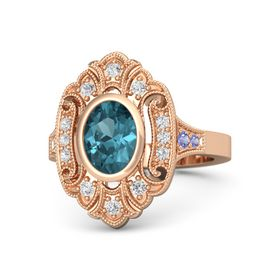 Oval London Blue Topaz 14K Rose Gold Ring with White Sapphire and Iolite
