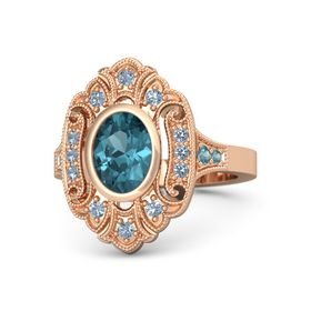 Oval London Blue Topaz 14K Rose Gold Ring with Blue Topaz & London Blue Topaz