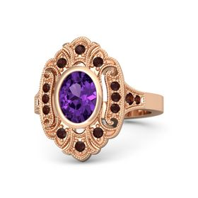 Oval Amethyst 14K Rose Gold Ring with Red Garnet