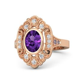 Oval Amethyst 14K Rose Gold Ring with White Sapphire and Rhodolite Garnet