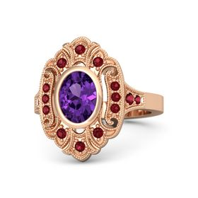 Oval Amethyst 14K Rose Gold Ring with Ruby