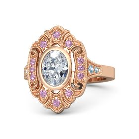 Oval Diamond 14K Rose Gold Ring with Pink Tourmaline and Aquamarine