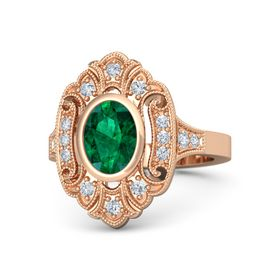 Oval Emerald 14K Rose Gold Ring with Diamond