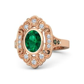 Oval Emerald 14K Rose Gold Ring with Diamond and Green Tourmaline