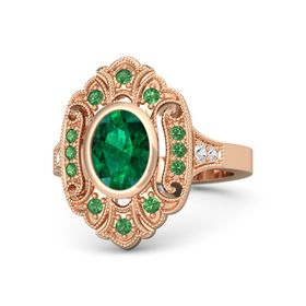 Oval Emerald 14K Rose Gold Ring with Emerald and White Sapphire