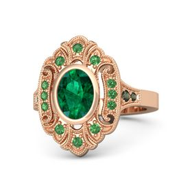 Oval Emerald 14K Rose Gold Ring with Emerald and Green Tourmaline