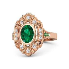 Oval Emerald 14K Rose Gold Ring with White Sapphire & Emerald