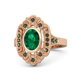 Oval Emerald 14K Rose Gold Ring with Green Tourmaline and Alexandrite