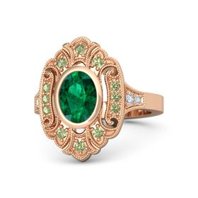Oval Emerald 14K Rose Gold Ring with Peridot & Diamond