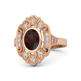 Oval Red Garnet 14K Rose Gold Ring with Diamond and Pink Sapphire