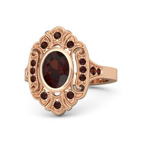Oval Red Garnet 14K Rose Gold Ring with Red Garnet